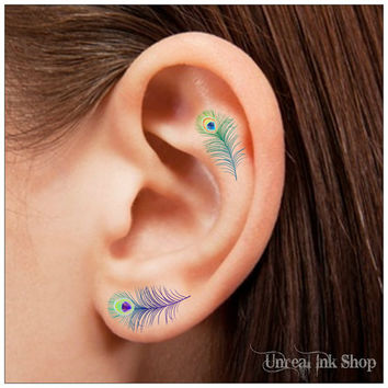 Temporary Tattoo 16 Peacock Feather Ear Tattoos Finger Tattoos
