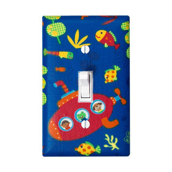 Submarine Under the Sea Light Switch Plate / Nautical Fish Nursery Decor / Bright Primary Colors / Boys Room Bathroom / Navy Blue