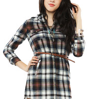 Plaid Belted Shirt