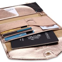 Zoppen Mulit-purpose Rfid Blocking Travel Passport Wallet (Ver.4) Trifold Document Organizer Holder, Gold