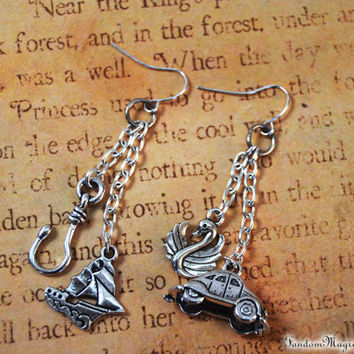 Captain Swan Earrings with a Pirate Ship, Hook, Swan and VW Bug Car, Charm Once Upon a Time, ABC Television Show, by Fandom Magic