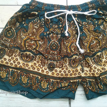 Green Teal Boho Shorts Paisley Flora Retro Print Ikat Summer Beach Tribal Fashion Clothing Aztec Ethnic Hobo Cloth Cute Wear with Tank top