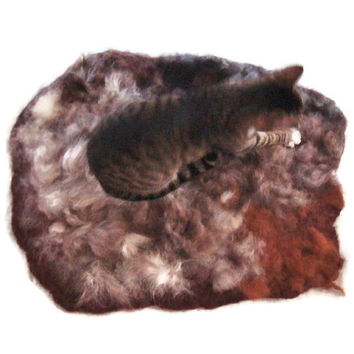Alpaca Cat Bed - Wool Felted Pet Bed - Supporting Small US Farms