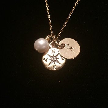 Tiny Bronze Compass Necklace with Swarovski Pearl and Gold Filled Initial Disc.