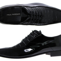 Paul Parkman Men's Bicycle Toe Dress Shoes - Black Patent and Croco Embossed Upper With Bordeaux Leather Sole