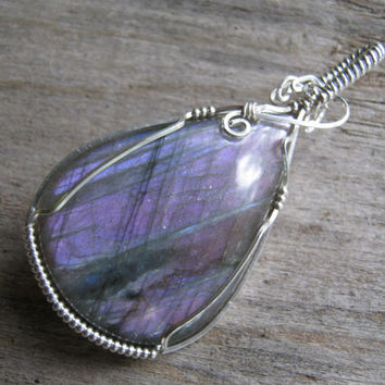 Awesome Purple Labradorite Pendant, Wire Wrapped Pendant, 925 Sterling Silver, Lilac Violet Spectrolite, Chakra Gemstone, READY To SHIP