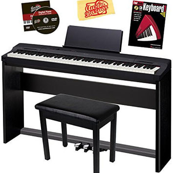 Casio Privia PX-160 Digital Piano Bundle with Casio CS67 Stand, SP33 Pedal, Bench, Instructional Book, Austin Bazaar Instructional DVD, Polish Cloth