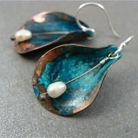 copper cala lily  earrings