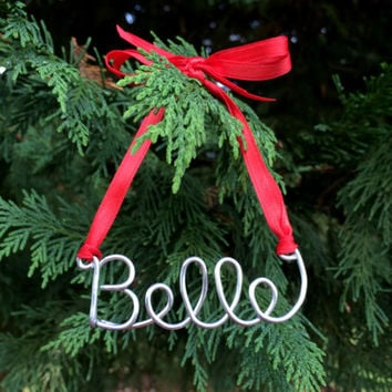 Name Ornament Custom Personalized Wire Red Green Gold Silver White Blue Christmas