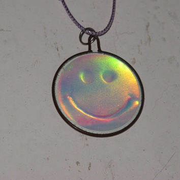 happy face hologram necklace