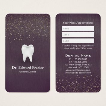 Modern Dental Care Dentist Appointment Purple Gold Business Card