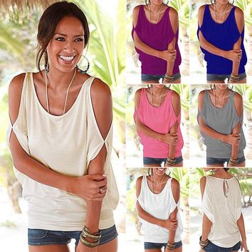 Women's Summer Cold Shoulder Short Sleeve T-shirt Ladies Blouse Casual Baggy Top