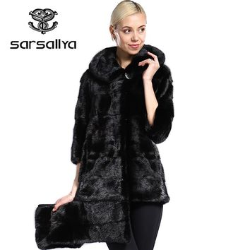 SARSALLYA real fur New style ladies' fashion mink coats,Genuine Leather,Mink Fur,Mandarin Collar,Mink fur coat from natural fur,
