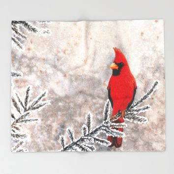 The Red Cardinal in winter Throw Blanket by Savousepate