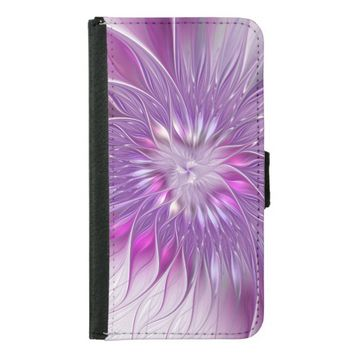 Pink Flower Passion Abstract Fractal Art Wallet Phone Case For Samsung Galaxy S5