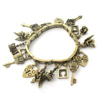 Angels Skeleton Key and Lock Shaped Charm Bracelet in Brass