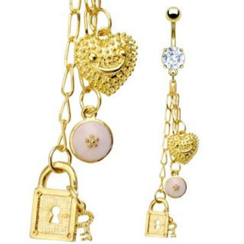 Body Accentz® Belly Button Ring Navel Gold plated Key Lock Heart Body Jewelry 14g Gauge HO244