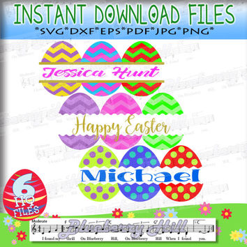 Easter SVG File - Split Cracked Easter Eggs - Easter cuttable files - 3 in 1 -  Cut Files - DIY- Svg - Dxf- Eps - Png -Jpg - Pdf
