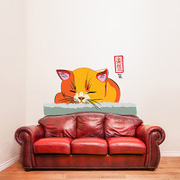 """Vinyl Wall Decal Cute Print """"Sleepy Cat"""" / Sumi-e Japanese Art Kitty Sticker / Colorful Sumie Brush Painting Label + Free Random Decal Gift"""