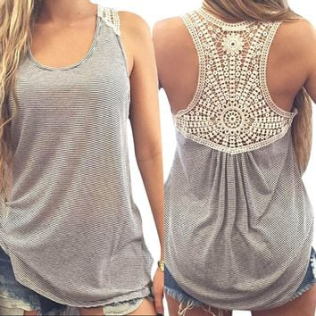 Women T-shirt  Summer Style 2017 New Lace Vest Top Sleeveless Casual Tops Tees Free shipping Fanoni Crochet Vest Top
