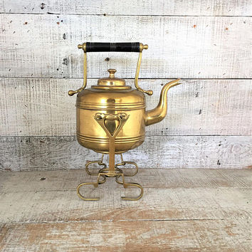 Teapot Brass Teapot with Warming Stand Brass Tea Kettle with Stand Gold Tea Pot Antique Teapot with Stand Brass Planter Unique Gift