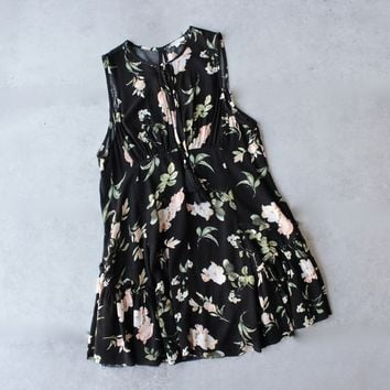 Haiku raw hem challis floral mini dress