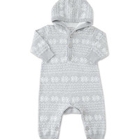 Gray Snowflake Hooded Playsuit - Infant