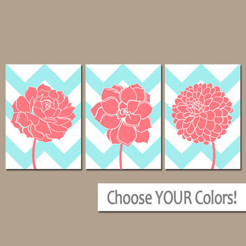 CHEVRON Flower Wall Art, CANVAS or Prints Aqua CORAL Nursery, Bathroom Artwork, Coral Bedroom Pictures, Flower Dahlia Set of 3 Home Decor
