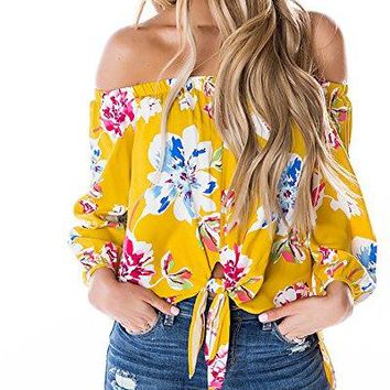 Gobought Womens Floral Tie Front Tops Off Shoulder Long Sleeve Shirts