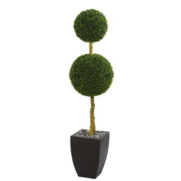 5' Double Ball Boxwood Topiary Artificial Tree in Black Wash Planter UV Resistant (Indoor/Outdoor)