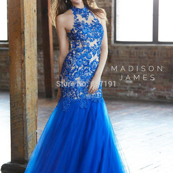 Dramatic Sexy Open Back Fuchsia 2017 Halter Lace Appliqued Top Backless Royal Blue Mermaid Prom Dress Vestidos Evening Gown