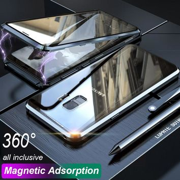 360 Double Sided Glass Magnetic Adsorption Phone Case For Samsung Galaxy S9 Plus Note 9