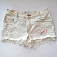 White Denim / Destroyed  Embroidered  & Lace by RomaniRose on Etsy