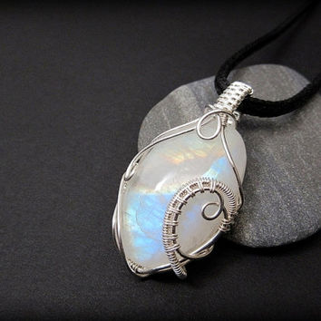 OOAK wire wrapped Moonstone necklace, rainbow moonstone pendant, sterling silver wire wrap, black leather necklace, unique women necklace