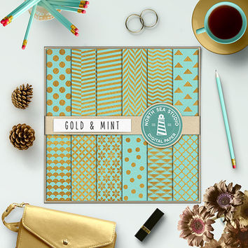 Gold Mint Digital Paper Gold Foil Paper Polkadot Chevron Triangles Herringbone Quatrefoil Pattern Gold Mint Background Gold Texture 12x12 In