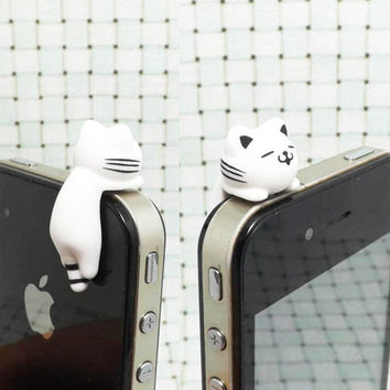 Cute White Pink Hanging Striped Cat Kitty Dust Plug 3.5mm Phone Dust Stopper Earphone Cap Headphone Jack Charm for iPhone 4 4S 5 HTC Samsung