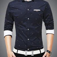 Polka Dot Turn-down Collar Long Sleeves Shirt