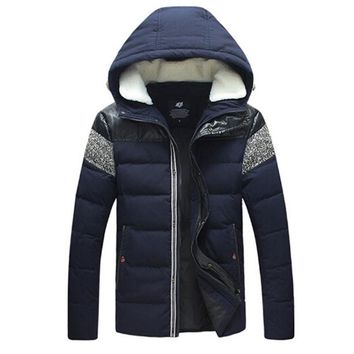 AILOOGE White Duck Down Winter Cotton Jacket Men PU Leather Patchwork  Men's Hooded Wool Collar Thick And Warm Jackets Coats
