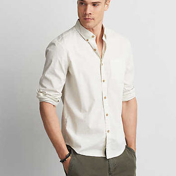 AEO Flex Button Down Shirt, Cream