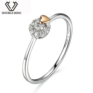 DOUBLE-RING Real 18K Gold Fine Jewelry Genuine 0.085ct Diamond Ring Heart Women Unique Wedding Engagement Rings ASR01005KA-7