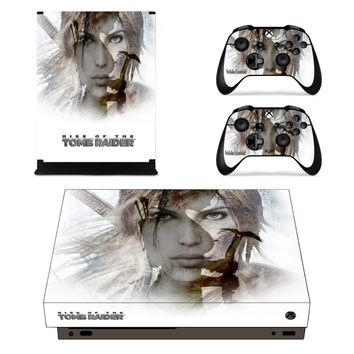 Rise of Tomb Raider Skin Sticker Decal For Xbox One X Console and Controllers Skins Stickers for Xbox One X Skin Vinyl