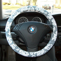 Grey And White Damask Steering Wheel Cover
