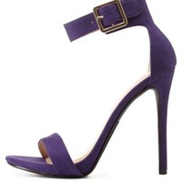 Purple Single Sole Ankle Strap Heels by Charlotte Russe