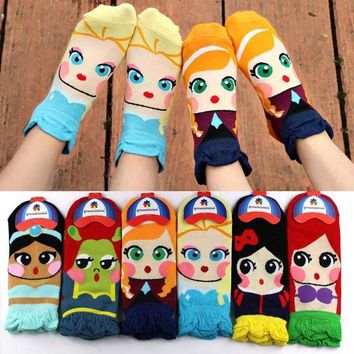ONETOW Cotton Cartoon KWAII Disney Princess Ankle Socks