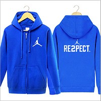 Jordan Autumn and winter youth leisure sports jacket sweater tide men and women hooded shirt plus cashmere cardigan Blue