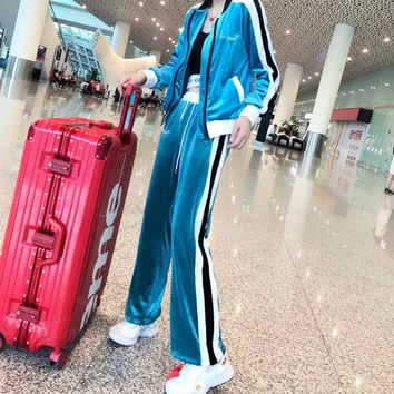 """OFF-White"" Women Casual Fashion Gold Velvet Multicolor Stripe Long Sleeve Zip Cardigan Coat Trousers Set Two-Piece Sportswear"