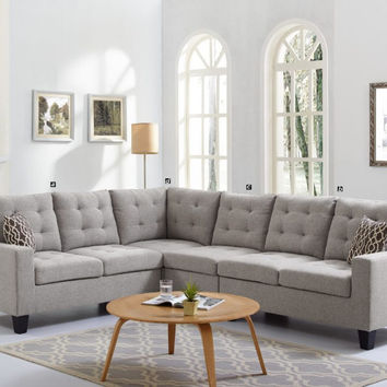 Oadeer Home D6704 4 pc collette collection light gray polyfiber faux linen fabric upholstered sectional sofa