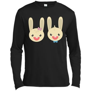 Cute Rabbit Bunny Couple Valentines Day Easter Shirt Long Sleeve Moisture Absorbing Shirt
