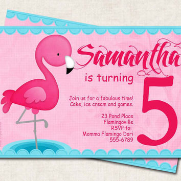 Flamingo Birthday Party Invitation, pink, blue, luau, picnic, Digital File you print