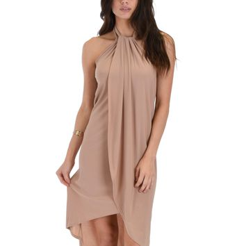 Lyss Loo Wrap Star Halter Taupe Midi Wrap Dress